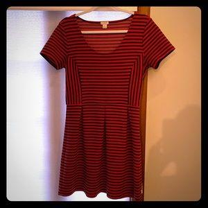JCrew red/navy ribbed dress